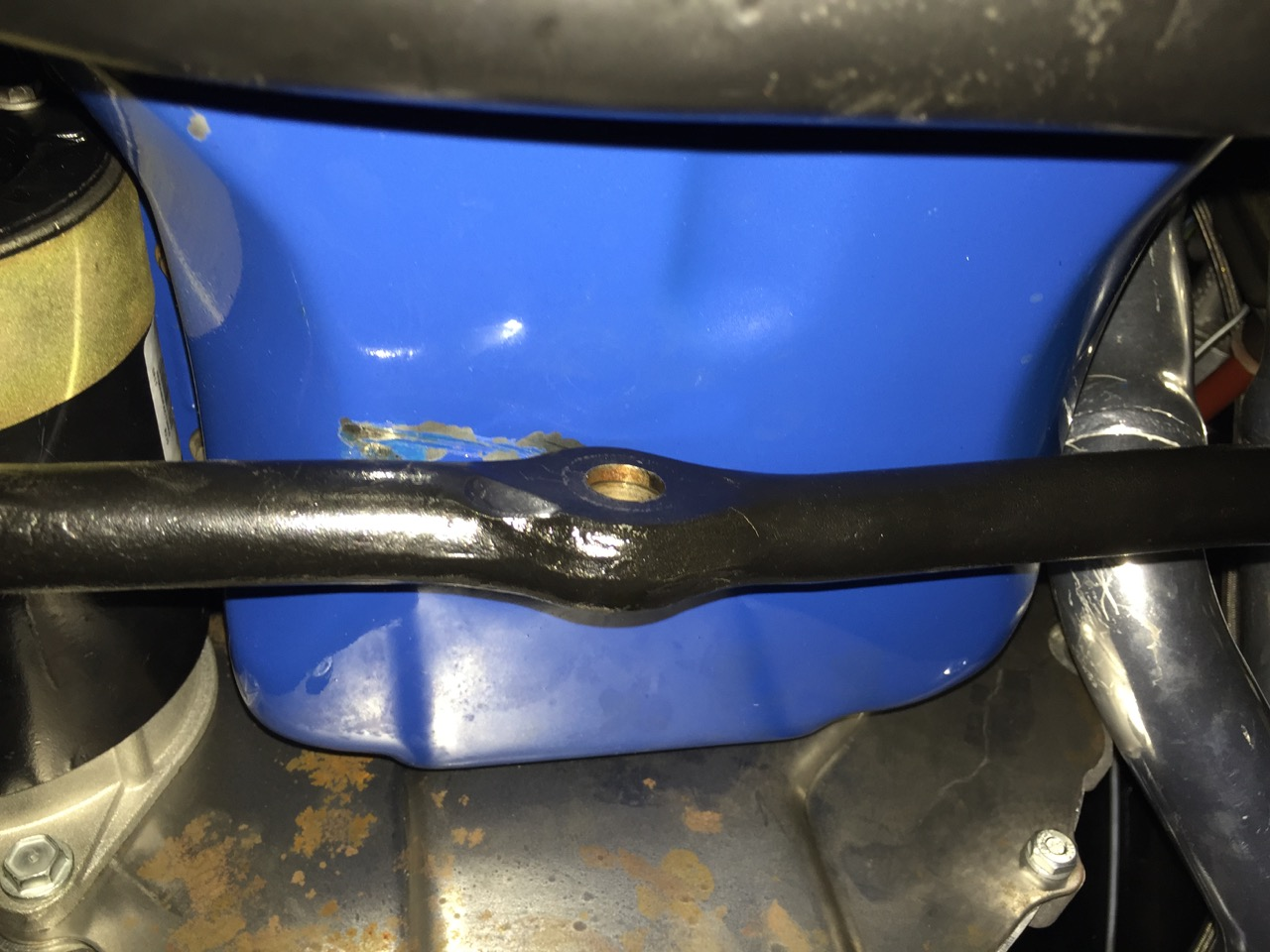 clearance issues drag link oil pan 1966 mustang
